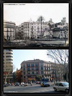 Pl. Urquinaona, BCN Foto antigua: 1874 / Foto actual: 2007 La antigua plaza de Jonqueres y actual plaza Urquinaona poco después de tirarse las murallas y antes de abrirse la actual Via Layetana.