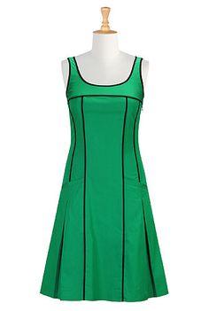 I <3 this Tipped trim poplin shift dress from eShakti