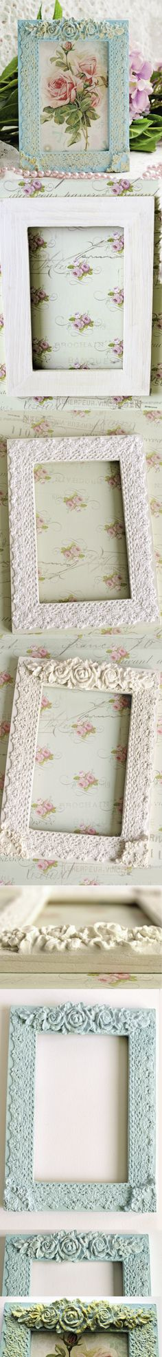 DIY Decoupage with lace. How to make a beautifull photo frame with lace. #photoframe #decoupage #tutorial