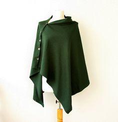 Convertible poncho Forest green shrug Multipurpose shawl Boho bolero scarf Modern cape Knit women poncho with buttons Winter wrap Gift idea