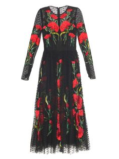 Carnation-embroidered tulle dress | Dolce & Gabbana | MATCHESFASHION.COM US