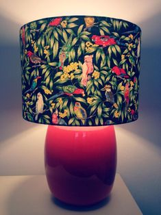 Tropical Birds Lampshade 25cm | Etsy Navy Blue Background, Tropical Birds, Bohemian Style, Light Up, Colours, Contemporary, Fabric, How To Make, Etsy