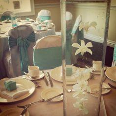 Teal an white wedding