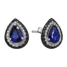 Effy Jewelry Gemma Blue Sapphire and Diamond Earrings, 1.82 TCW ($1,537) ❤ liked on Polyvore featuring jewelry, earrings, blue sapphire, diamond jewellery, diamond earring jewelry, earring jewelry, blue sapphire earrings and blue sapphire jewelry