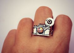 silver camera ring with pink fire opal, photography ring, kitsch ring, unique ring, cute ring, vintage style
