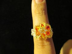 Swarovski Crystal Ring  fire over yellow size 657 by jsdd on Etsy, $10.00