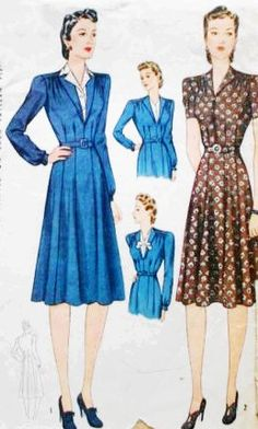 Simplicity 3689 Misses' Vintage 1940s Dress with Optional Vestee Sewing Pattern Size 40 by DRCRosePatterns on Etsy