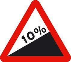 Subida con fuerte pendiente (p16b); Peligro por la existencia de un tramo de vía con fuerte pendiente ascendente. La cifra indica la pendiente en porcentaje.