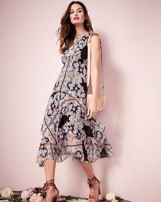 Spring 2017 Nanette Lepore Wild Heart Sleeveless Silk Chiffon Kaleidoscope Midi Dress $648 Made of airy silk chiffon, this dress includes an eye-catching, kaleidoscopic print.