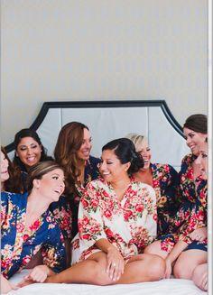 Bridal party robe in navy blue, getting ready robe, kimono crossover robe… Bridesmaid Shirts, Bridesmaids And Groomsmen, Bridesmaid Dresses, Wedding Dresses, Bridal Shower Games, Bridal Shower Decorations, Bridal Party Robes, Bachelorette Party Games, Team Bride