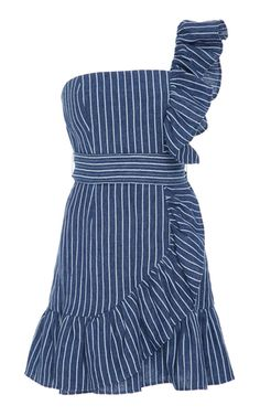 This **Alexis** Konner Mini Dress features a one shoulder design with ruffle details.