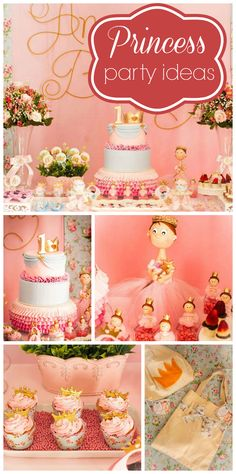 A pink shabby chic Princess girl birthday party with a lovely cake and party decorations!  See more party planning ideas at CatchMyParty.com!