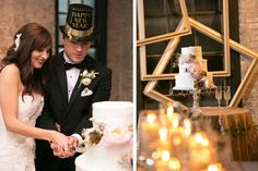 Tying the Knot Wedding Coordination Eau Claire Photographics Frame display behind the cake at this New Years Eve Wedding! See the full wedding here: http://www.tyingtheknotweddingcoordination.com/blog/tara-ryan-tied-the-knot/ #sequinlinens #vintagecakestand #newyearsevewedding