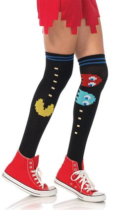 Get the high score in these black thigh high socks featuring a blue striped top, yellow Pac-Man design, and Pac-Man ghost detailing. (Thigh highs only.) Pac-Man Thigh High Socks, Pac-Man Socks, Pac-Man Thigh Highs #hosiery #thighhighstockings #officiallylicensed