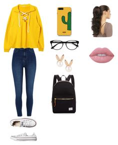 """""""Untitled #80"""" by cupcake990 on Polyvore featuring Converse, River Island, WithChic, Lime Crime, Aamaya by Priyanka, EyeBuyDirect.com and Herschel Supply Co."""