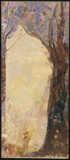 Odilon Redon (French: 1840–1916), [Post-impressionism, Symbolism] Jacob Wrestling with the Angel, 1907.