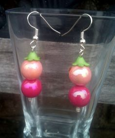 Pink Bead Dangle Earrings by By5Jewelry on Etsy, $6.00