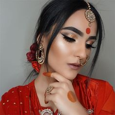 A M T U L ☽ (@makeupbyamtul)  Devdas. Aishwarya Rai. Bollywood makeup. Indian. Pakistani. Indian jewelry. Nathli. Tikka. Bindi. Anastasia Beverly Hills. Gleam glow kit. DipBrow Ebony. Eyeliner. Contour. Highlight. Verve lipstick. Mac cosmetics. Too faced. Self made palette. Master palette. Makeup by Mario. Pakistani bridal. Indian bridal. Shahrukh khan. Mehndi. Henna. Tattoo. Deepika padukone. Morphe brushes. Beauty Makeup, Eye Makeup, Hair Makeup, Hair Beauty, Urdu Stories, Moral Stories, Indian Bridal, Pakistani Bridal, Wedding Wear