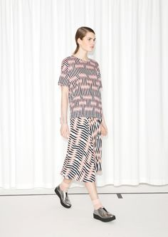 & Other Stories image 1 of Pleated Midi Skirt in Pink