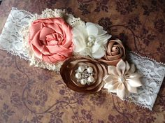 Vintage inspired Ivory taupe deep peach satin lace headband,cream flower headband-newborn, baby-photo prop-flower girl- bridal