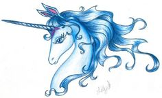 Don't know who drew this, but it's BEAUTIFUL. The Last Unicorn.