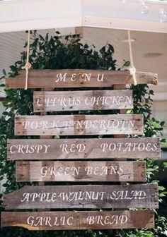 Rustic barn wood wedding menu display sign.  #wedding #signs
