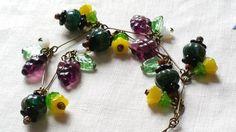 Czech Pumpkin And Grape Glass Bead Necklace 1930s Style