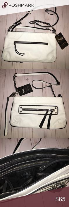 96368593efb8f1 NWT CHEZ boutique crossbody leather purse New super cute chains and  leather. Black and white