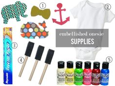 Decorate a onesie and hang on a clothesline to dry
