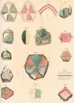 """Sixteen figures showing specimens of amethysts viewed under polarized light and exhibiting veined structures. Plate 10 from the paper """"On the effects of compression and dilatation in altering the polarising structure of doubly refracting crystals"""", by David Brewster, originally published in Transactions of the Royal Society of Edinburgh, volume 8 (1818) pp.281-286."""