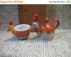 SALE CHICKEN Animal Rooster Cup & Teapot Set -  French Feve Feves Figurines Miniature  C45