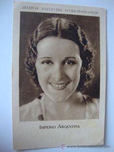 ANTIGUO FOTOCROMO PUBLI. TINTES IBERIA CINE ARTISTAS EMINENTES CINEMATOGRAFICOS IMPERIO ARGENTINA