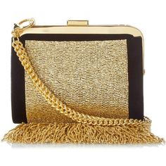 Balmain Bead-embellished fringe clutch bag (4,850 BAM) ❤ liked on Polyvore featuring bags, handbags, clutches, shoulder bags, black gold, black handbags, velvet purse, sparkly purses, black clutches und black purse