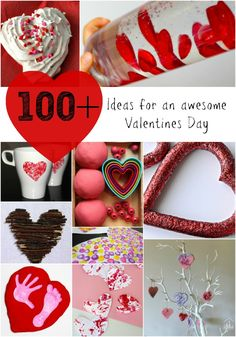 100 ideas for an awesome Valentine's Day. Arts and crafts for kids, yummy snacks, sensory and learning activities, plus gorgeous home decor ideas from the It's Friday We're In Love linky party.