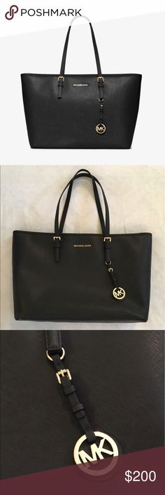 Michael Kors Jet Set Large Saffino Leather Tote Barely used (only used twice) black Michael Kors Jet Set tote. Offers many pockets for super easy organization - a great grab and go bag! In perfect condition, can fit your laptop, gym shoes, water bottle, a change of clothes...so many possibilities. ;) comes with dust bag. MICHAEL Michael Kors Bags Totes