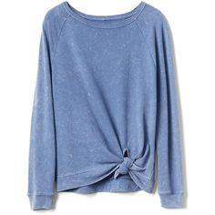 Gap Women Cozy Knot Sweatshirt ($50) ❤ liked on Polyvore featuring tops, hoodies, sweatshirts, shirts, sweaters, ruched shirt, raglan top, long shirt, blue sweatshirt and shirt top