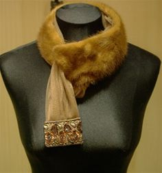 Pellechia Cognac Mink Scarf with Beaded, Sequined Tip