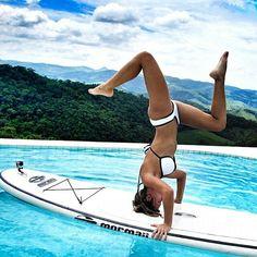 Yoga on a board amazes me #surfingworkout