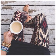 No shoes, coffee & these tribal print leggings. Our type of morning.  cc: @waitkristiwaite