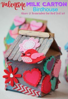 Recycled Milk Carton Birdhouse Craft for Kids - Birdhouse Idas for Kids made from Milk Cartons, these are an adorable valentines day activity for kids