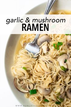 This is my favorite way to make homemade ramen. It's simple, flavorful and done in under 30 minutes. It's a quick fix for your take-out cravings. Garlic Mushrooms, Stuffed Mushrooms, Stuffed Peppers, Ramen Recipes, Dinner Recipes, How To Make Ramen