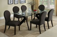 GB3425T - Europa Contemporary Style Espresso Dining Table + 6 Chairs - Furniture2Go