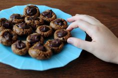 Raw Peanut Butter Chocolate Thumbprint Cookies