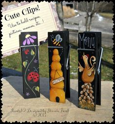 E PATTERN - Cute Clips - Designs for all 3 - New - Beehive, Ladybug, Chicken - Painted  Designed by Sharon Bond