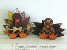 Thanksgiving Turkeys Unfinished Wood Crafts from Crafty Wood Cutouts
