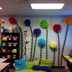 Reading wall in classroom library:  The Lorax theme