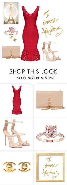 """""""Red party dress-Legerbabe Blakely Multi-Eyelet Dress"""" by qingbabe ❤ liked on Polyvore featuring Yves Saint Laurent, Chanel and Oliver Gal Artist Co."""