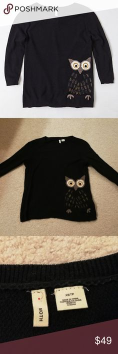 """Anthropologie brand Moth owl sweater Black color w/ multi-colored embroidery """"Wisened Pullover"""" by MOTH 52% Cotton 26% Viscose 16% Nylon 6% Cashmere  Only worn once like new Anthropologie Sweaters"""