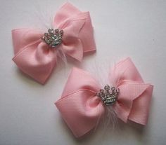 PRINCESS Tiara Pig Tail ponytail girls hair bows