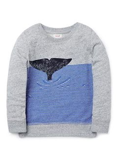 100% Cotton French Terry crew neck sweater featuring front whale placement print.